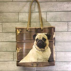 Pug tote bag bling necklace medium size bag purse